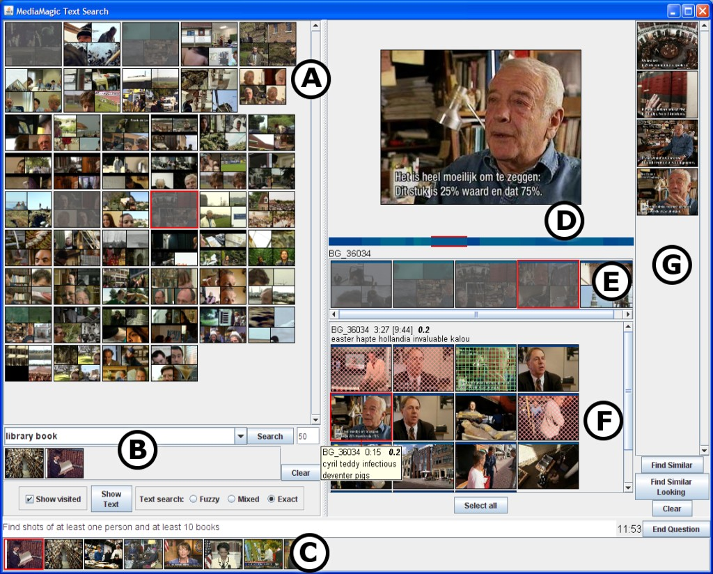 Figure 12.8: An interactive interface for video search, over a collection of ...